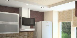 Дизайн очень маленькой кухни с холодильником фото