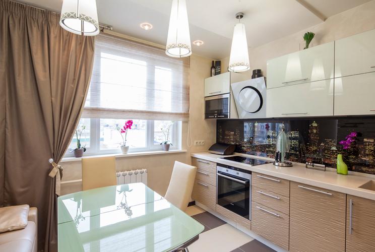 Дизайн прямоугольной кухни 12 кв м фото