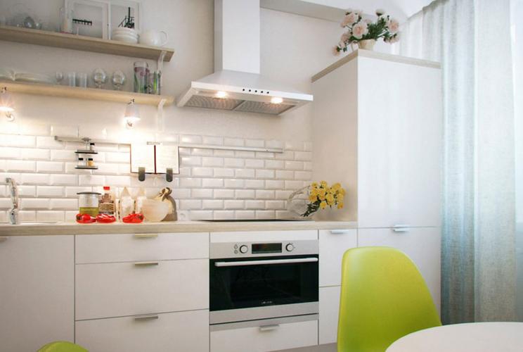 Прямая кухня без верхних шкафов