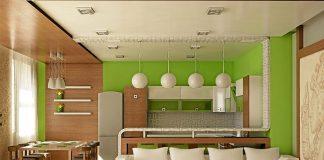 зал кухня студия фото дизайн интерьера