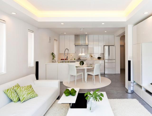 красивый дизайн кухни гостинной
