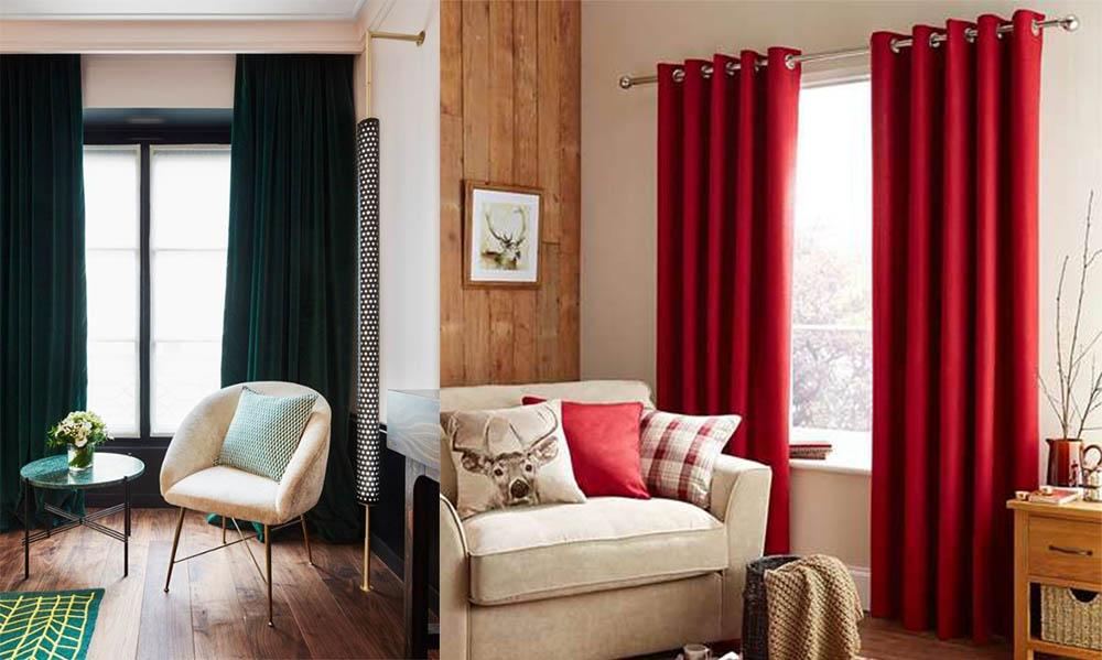 красные шторы в гостиную