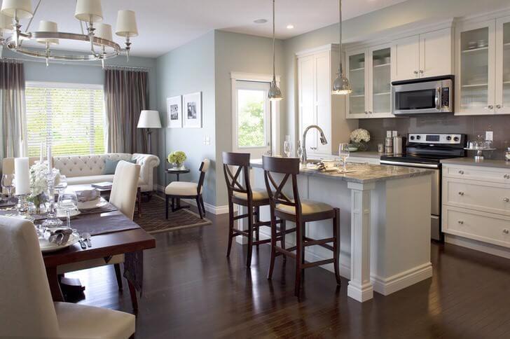 дизайн элегантной кухни гостинной