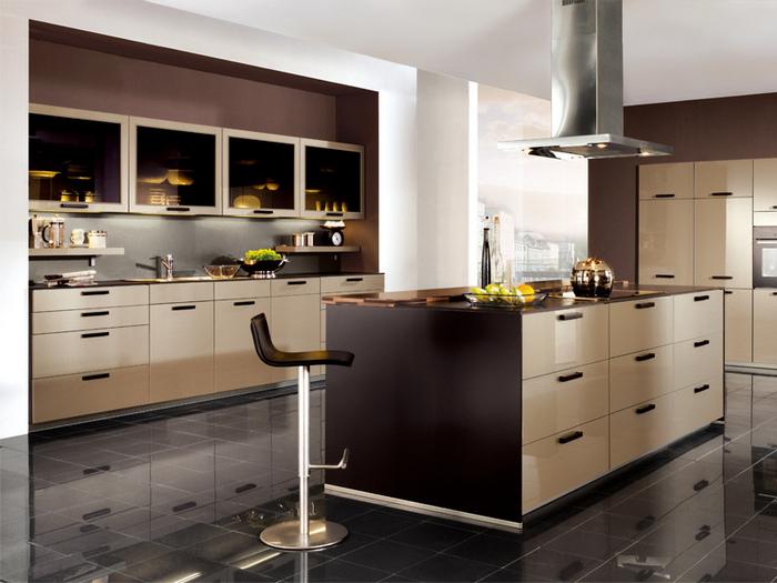 современная трехцветная кухня
