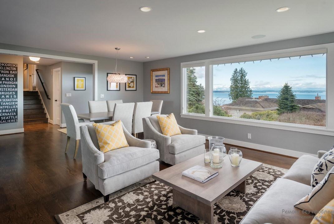 серый интерьер дома