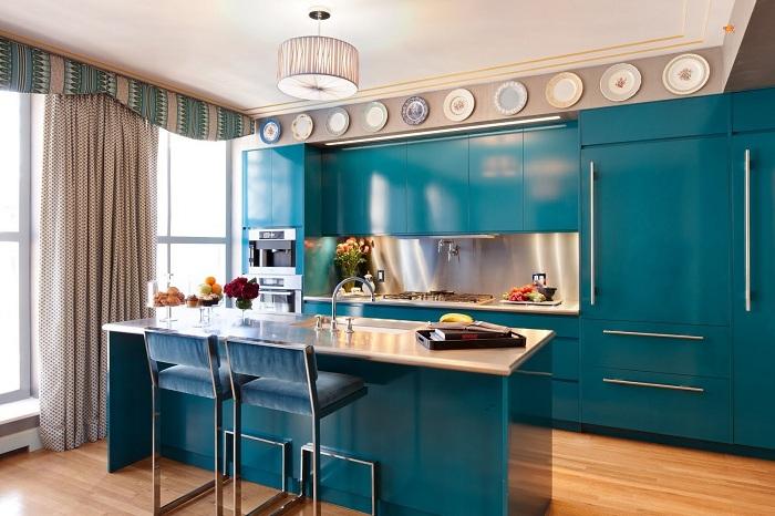 бирюзовая кухня в современном стиле