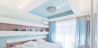 модные шторы в голубых тонах