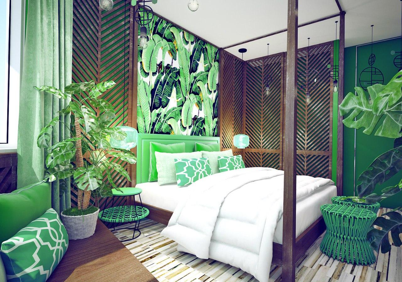 интерьер в квартире в тропическом стиле