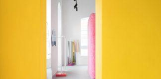 красивый желто розовый интерьер